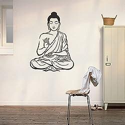 Kicode Pegatinas de pared Buda hindú Budismo Calcomanía Mural extraíble Papel pintado de apliques de bricolaje