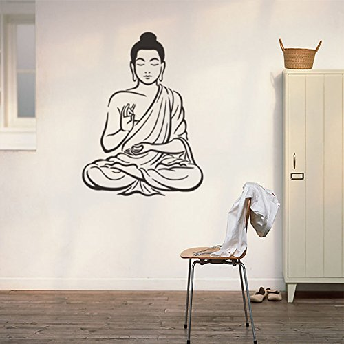 Pegatinas de Pared de Vinilo de Buda Chakra Mandala Mantra Meditación Decoración Habitación Post