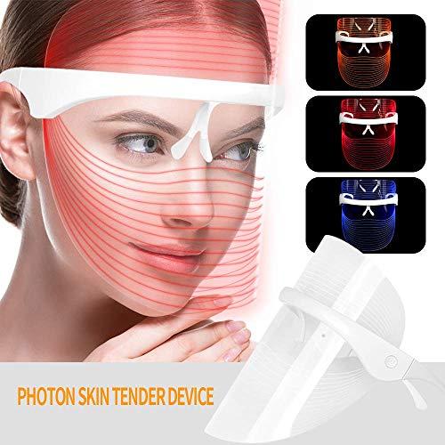 3 Farben LED Gesichtsmaske Photon Therapie Gesichtsmaske Spectral Skin Rejuvenation Mask Anti-Falten Whitening Akne-Reinigungsmaske LED-Maske Beauty-Behandlung LED Beauty Face Mask -