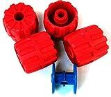 LEGO 4 Stück Rad 22 x 24 für Mondfahrzeug in rot. Dazu eine Kabelrolle in blau.