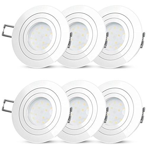 Zwei Licht-wand-strahler (6er Set RF-2 LED Einbauleuchte weiß & flach 230V - Spot schwenkbar mit 5W LED warmweiß Einbautiefe 30mm - kein Trafo nötig)