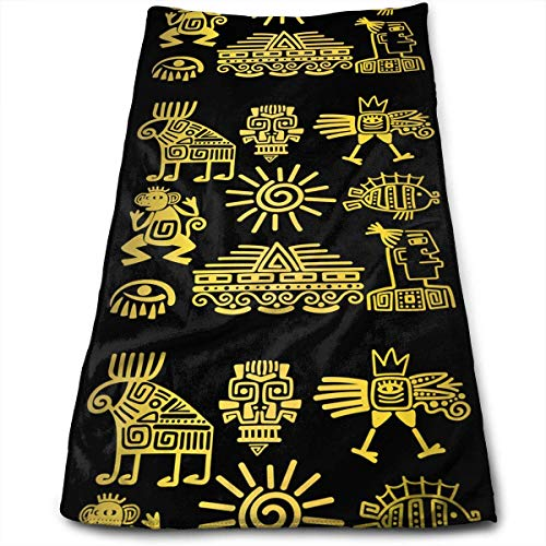Hipiyoled Maya Style Gold lineare Totem Icons Mikrofaser 3D-Design-Muster Handtuch 12 x 27,5 Handtuch Handtücher