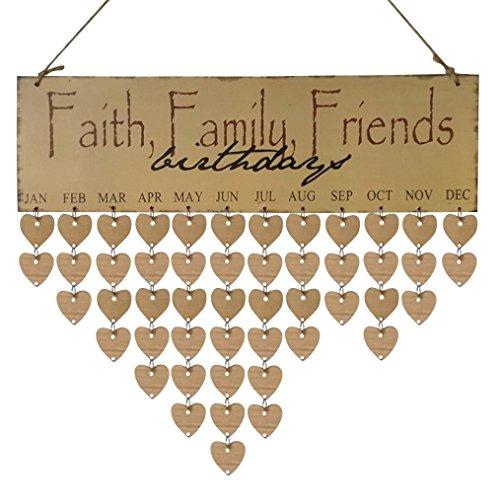 Holz DIY Kalender HARRYSTORE Geburtstag Mahnung Tafel Birke Schicht Plakette Schild Für die Familie Freunde (Halloween Outdoor Dekorationen Niedliche Hof)
