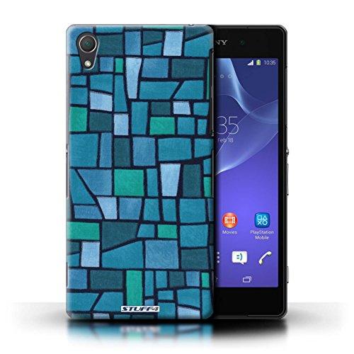 Kobalt® Imprimé Etui / Coque pour Sony Xperia Z2 / Brun/Blanc conception / Série Carrelage Mosaïque Bleu/Turquoise