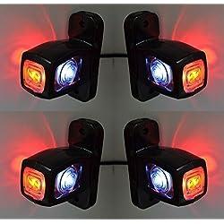 4X côté marqueur Rouge Blanc Orange lumières LED 12V 24V Châssis de camion remorque Bus caravane Camper