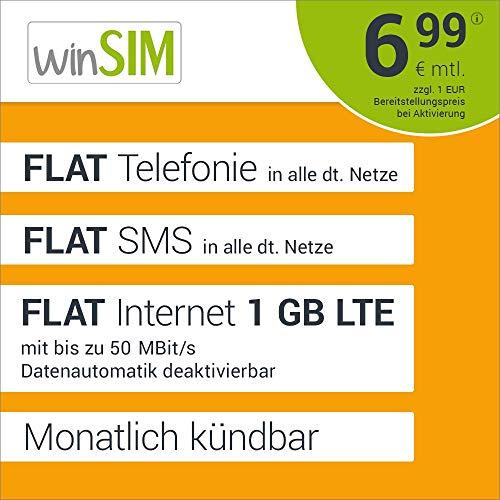 winSIM LTE All 1 GB Allnet Flat - monatlich kündbar (FLAT Internet 1 GB LTE mit max. 50 MBit/s mit deaktivierbarer Datenautomatik, FLAT Telefonie, FLAT SMS und FLAT EU-Ausland, 6,99 Euro/Monat)