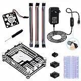 für Raspberry Pi 3 Modell b Kit Gehäuse Kühlkörper Lüfter 5V 3A Netzteil Jumper Kable Breadboard