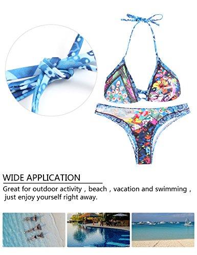 MinYuocom Damen Bikini-Sets Push-Up Bademode Zweiteilig Strandmode Mädchen Bikini Oberteil MZF4607 7147-Blau