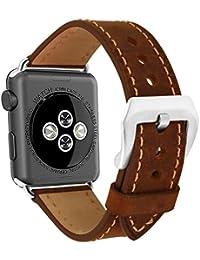 omyzam Correa Cuero Apple Watch 42mm Vintage Correa Calidad Hebilla Grande Acero Inoxidable Apple Watch Series 3, Apple Watch Series 2, Apple Watch Series 1, Sport Edition Marrón