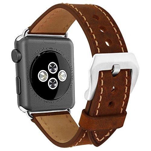 omyzam Apple Watch Armband 42mm Ersatzarmbänder Leder Uhrenarmbänder Fit Apple Watch Series 3, 2, 1, Sport und Editionsversionen Braun Gehen 2 Männer