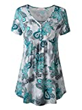 WAJAT Women's Short Sleeve V Neck Front Pleated Flared Comfy Loose Tunic Top Green Floral 2XL