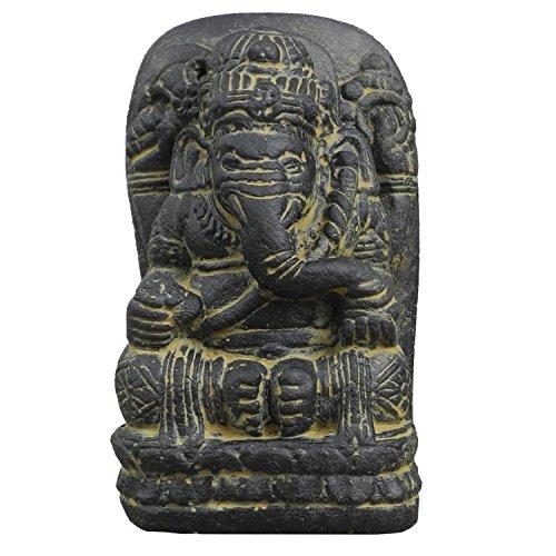 Oriental Galerie Ganesha Hinduismus Buddhismus Gott Götterbote Ganapati Geschenk Stein Lavastein Grau 18 cm
