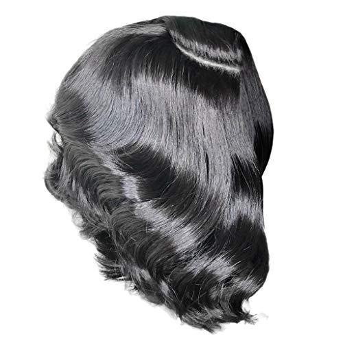 FBGood 14 Zoll Damen Wellige Gelockte Teilweise Schwarz Kurze Perücken, Frauen Mode Synthetische Haar Lockige Perücke für Cosplay Girls Party Täglichen Gebrauch -