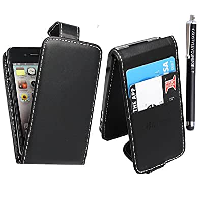 UNIQUE DESINGS PU LEATHER FLIP CASE COVER FOR APPLE IPOD TOUCH 4 4TH GEN + FREE STYLUS (Black)