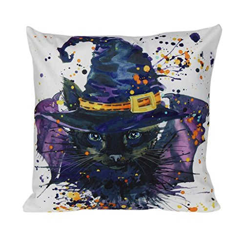 DOLDOA ☀『 Halloween kissen Abdeckungs』☀ Happy Halloween Kissenbezüge Leinen Sofa Kissenbezug Home Decor (Home Halloween Decor)