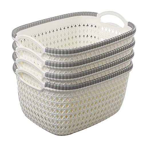 AB SALES Rattan Woven Weave Organiser Storage Baskets Container Bins with Handle Ideal for Kitchen, Bathroom Bedroom, Home Decor, Set of 4 (Large(29.5 * 24 * 17 cm))