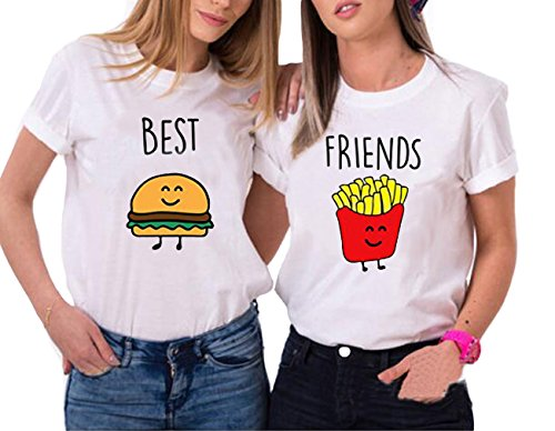 *Best Friends T-shirt Hamburger Pommes frites T-shirt für zwei Mädchen Damen Sommer Oberteil mit Aufdruck 2 Stücke Weiß Schwarz Grau JWBBU® (Best-M+Friends-M, Weiß)*