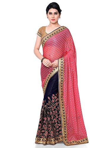 Panash Trends Women's Brasso & Lycra Heavy Work Half & Half Saree(UJJ.K660D_Pink...