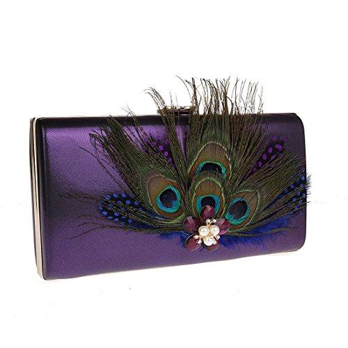 KAXIDY Damen Clutch Abendtasche Handtasche Handgemachte Schultertasche Clutch für Party Hochzeit Theater Kino Violett