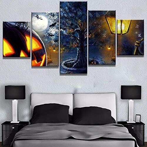 MIYCOLOR 5 Stück Leinwand Kunst Happy Halloween Kürbis Gemälde auf Leinwand Wandkunst für Hauptdekorationen Wanddekor @ 40x60_40x80_40x100 (Happy Halloween-computer Hintergrund)