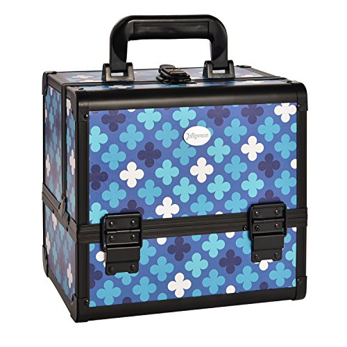 Joligrace NEW ARRIVAL Makeup Box With Mirror And Brushes Holder Cosmetic Case Jewelry Organiser Light Weight Lockable With Keys (Blue Mosaic)