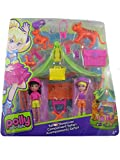 Polly Pocket Safari Sleepover Playset 15 Pieces with Dolls and Tigers