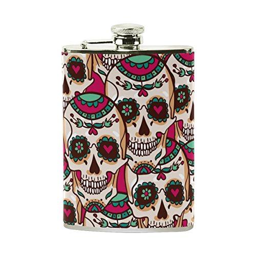 Tizorax Sucre Tête de mort et fleurs en acier inoxydable Flasque, poche Pichet, le camping, Pot de vin, cadeau pour homme ou femme, 226,8gram