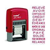 Tampon Trodat Printy 4822B avec 12 messages sur le même tampon - Encrage automatique rouge rechargeable - Format de l'impression: 24 x 4 mm