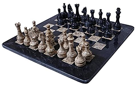 Handmade Black and Coral Marble two player Chess Game Marble