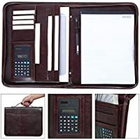 Leathario - Carpeta para documentos (tamaño A4, con cremallera, incluye bloc de notas), color marrón
