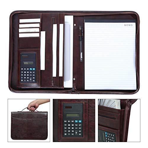 Leathario Marca de Portafolio de Carpeta Plegable de Mano, Diseñado para Negocio y para Tomar notas