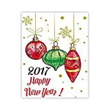 XWArtpic Buon Natale e Felice Anno Nuovo Regalo di Babbo Natale Albero Palla Poster Immagine della Parete Tela Pittura Camera dei Bambini Decorazione Domestica 60 * 100 cm