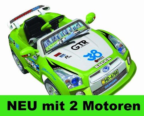 #Elektro Kinderauto Elektroauto mit 2xMotoren MP3 LED licht und Fernbedienung (GRÜN)#