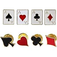 Happyyami 8 Pezzi Spilla da Poker Spille da Gioco Carte da Gioco Cuore Blackberry Badge Accessori Colletto Camicia