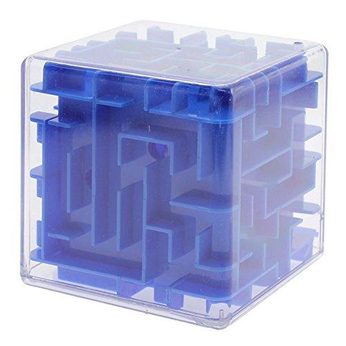 GGG Labyrinth 3D magischer Würfel Roll Spielzeug Puzzle-Spiel für Kinder Erwachsene Blau