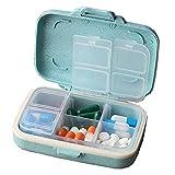 Tragbare Pillendosen,Fatetec 6 Fächern und Dichtung Vitamin Pille-Kasten Beweglicher Medizin-Box (blue)
