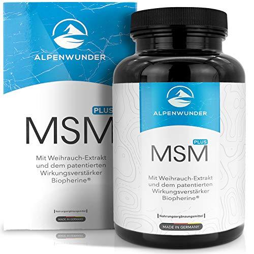 Alpenwunder MSM Kapseln hochdosiert, 100% MADE IN GERMANY, 365 hochwertige Methylsulfonylmethan (MSM), organischer Schwefel Kapseln, hergestellt gemäß DIN EN ISO 9001 -