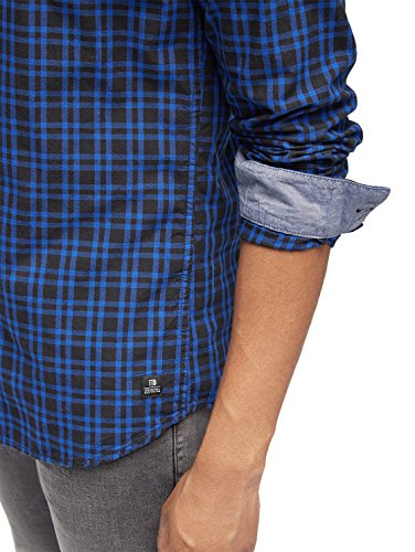 TOM TAILOR Denim Herren Freizeithemd Poplin Yarn Dyed Shirt Violet Blue
