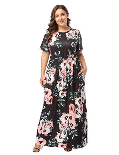 Damen Blumen Maxikleid Bohemien 3/4 Arm A-Linie Lang Kleider Sommerkleid Partykleid