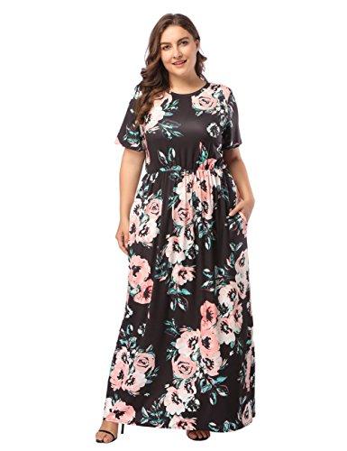 Frauen Chiffon Sommerkleider Deep Maxikleid Blumendruck Strandkleid Floral Long Minikleid Vintage...
