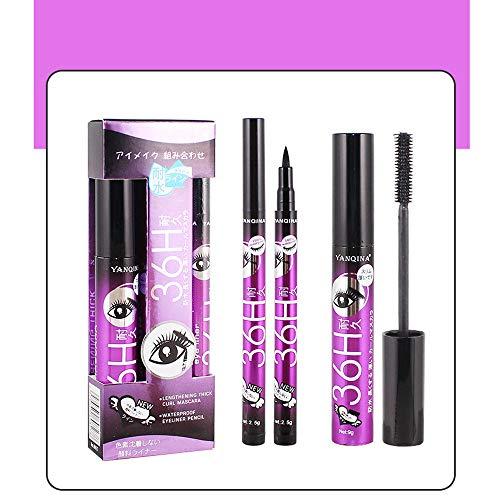 2 en 1 Mascara Femmes Puissant Imperméable Long Curling Extension des Cils Maquillage Durable + Eyeliner Pen Cosmétique Liquid Eye Liner Crayon Composent Outil (Violet)