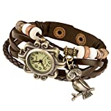 Taffstyle Damen-Armbanduhr Retro Vintage Geflochten Leder-Armband mit Charms Anhänger Analog Quarz Uhr Eule Gold Braun