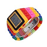 Gleader Multi-Color Block Brick Style Wrist Watch with LED Night Light - Yellow