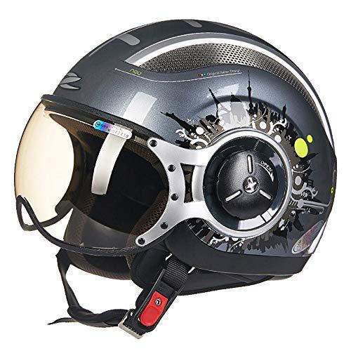 FLYFEI Casco Moto per AdultiD.O.T ApprovatoCasco Mezza Casco HarleyEstate TraspirantePilot Helmet Skateboard Moped off-Road Kids Grigio,M(54~56cm)