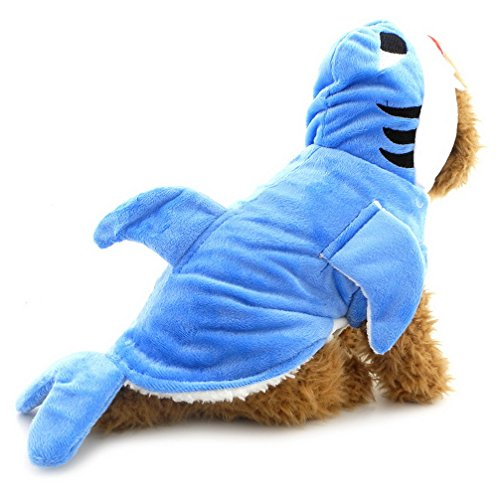 umwolle Kleidung Doggy Shark Kostüm Outfit Hoodie Winter Puppy Schlafanzüge Pet Apparel (Blue Shark Kostüm Für Hunde)