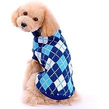 Mascotas suéter invierno perro tartán lana del perrito alta calidad de la traje caliente ropa de abrigo (L, Azul)