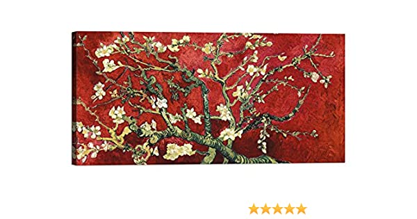 Mandorlo in Fiore Red Variation, Detail Quadro Stampa su Tela con Telaio in Legno Vincent Van Gogh Van Gogh Deco con Vernice Effetto Dipinto Misura 80x40 CM