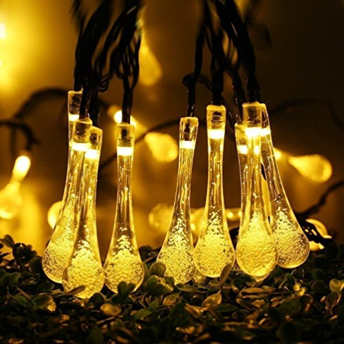 Guirlande lumineuse solaire extérieur jardin 30 led 6m easternstar goutte deau 2 modes déclairage lampe solaire imperméable pliable décoration pour