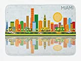 TKMSH Miami Bath Mat, North American City Skyline with Water Reflection Colorful High Rise Buildings...