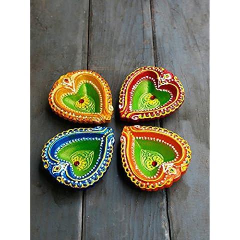 Store Indya, Colorido hecho a mano de tierra de arcilla / terracota decorativos Diyas Lamparas / petroleo con Rhinestone / Jewel para Pooja / Independencia / Puja Conjunto de 4
